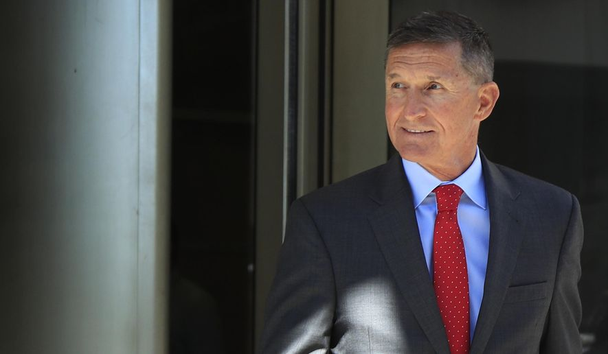 In this Tuesday, July 10, 2018 file photo, former Trump national security adviser Michael Flynn leaves federal courthouse in Washington, following a status hearing. Flynn is relaxed and hopeful even as the possibility of prison looms when he's sentenced in the Russia probe Tuesday, Dec. 18, 2018. The retired three-star general pleaded guilty last year to lying to the FBI about conversations he had with the then-Russian ambassador to the U.S. during President Donald Trump's White House transition. (AP Photo/Manuel Balce Ceneta, File)
