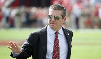 FILE - In this Nov. 11, 2018, file photo, Washington Redskins owner Daniel Snyder walks the sidelines before an NFL football game against the Tampa Bay Buccaneers, in Tampa, Fla.  (Jeff Haynes/AP Photo, File) **FILE**