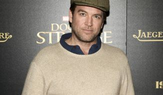 "FILE - In this Nov. 1, 2016 file photo, Michael Weatherly attends a special screening of ""Doctor Strange"" at AMC Empire 25 in New York. CBS reached a $9.5 million confidential settlement last year with actress Eliza Dushku after on-set sexual comments from Weatherly, star of the network's show ""Bull,"" made her uncomfortable. CBS confirmed the settlement Thursday, Dec. 13, 2018. Weatherly told the New York Times in an email that he was simply mocking comments in the script to Dushku, and was mortified and apologized when he learned she was uncomfortable. (Photo by Andy Kropa/Invision/AP, File)"