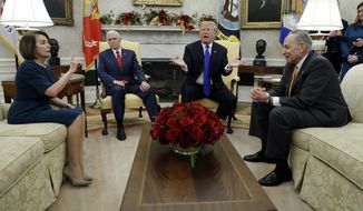In this Dec. 11, 2018, photo, President Donald Trump and Vice President Mike Pence meet with Senate Minority Leader Chuck Schumer, D-N.Y., and House Minority Leader Nancy Pelosi, D-Calif., in the Oval Office of the White House in Washington. (AP Photo/Evan Vucci) **FILE**
