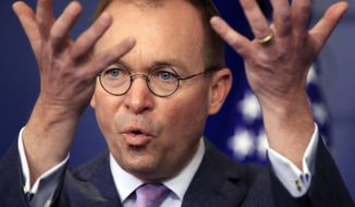 FILE - In this March 22, 2018, file photo, Office of Management and Budget Director Mick Mulvaney speaks in the Brady press briefing room at the White House in Washington. President Donald Trump has named Mulvaney as his new chief of staff. (AP Photo/Manuel Balce Ceneta, File)