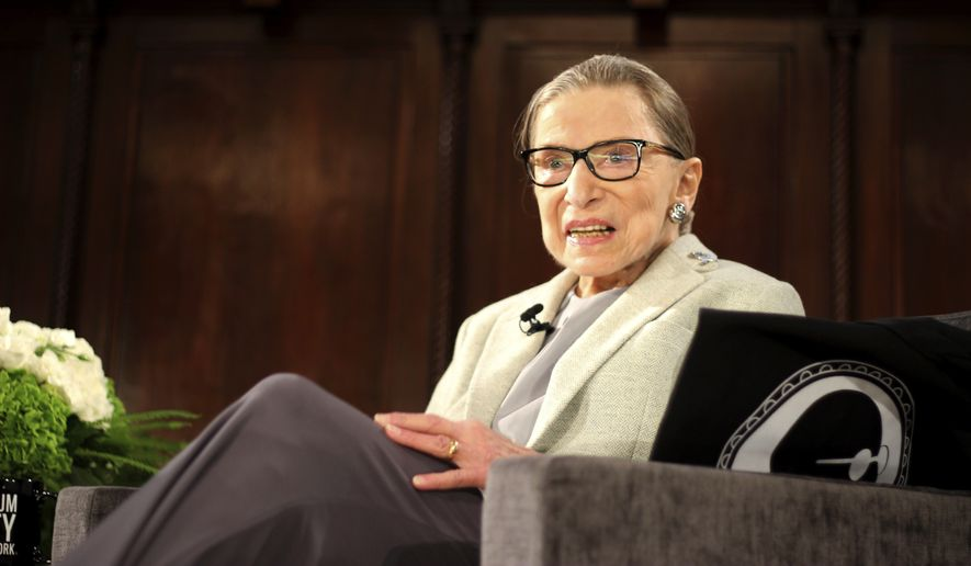 U.S. Supreme Court Justice Ruth Bader Ginsburg sits onstage as the third speaker of the David Berg Distinguished Speakers Series, during an event organized by the Museum of the City of New York with WNET-TV held at the New York Academy of Medicine Saturday, Dec. 15, 2018, in New York. NPR legal correspondent Nina Totenberg led a question-and-answer session about Ginsburg's quarter century on the Supreme Court, and about her life. (AP Photo/Rebecca Gibian) ** FILE **