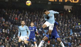 Manchester City's Gabriel Jesus scores his side's second goal of the game during the Englsih Premier League soccer match between Manchester City and Everton at the Etihad Stadium, Manchester, England. Saturday Dec. 15, 2018. (Martin Rickett/PA via AP)