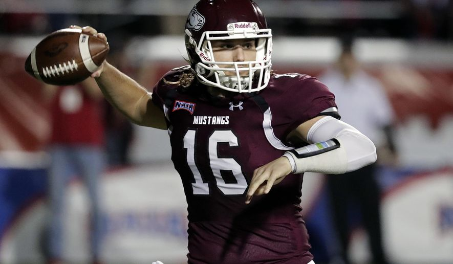 Morningside quarterback Trent Solsma throws a pass against Benedictine during the first half of the NAIA Championship college football game, Saturday, Dec. 15, 2018, in Daytona Beach, Fla. (AP Photo/John Raoux)