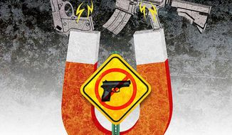 Gun Magnet Illustration by Greg Groesch/The Washington Times