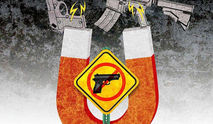 Gun Magnet Illustration by Greg Groesch/The Washington Times