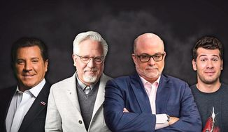 Blaze Media founders Mark Levin and Glenn Beck are flanked by hosts Eric Bolling on the left, and Steve Crowder on the right. (Blaze Media)