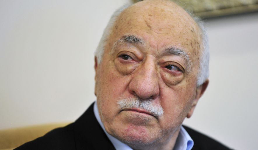 "FILE - In this July 2016 file photo, Islamic cleric Fethullah Gulen speaks to members of the media at his compound, in Saylorsburg, Pa. Turkey on Sunday dismissed as ""ludicrous and groundless"" a report that Turkish officials may have discussed kidnapping Gulen, a U.S.-based Muslim cleric, in exchange for millions of dollars. (AP Photo/Chris Post, File)"