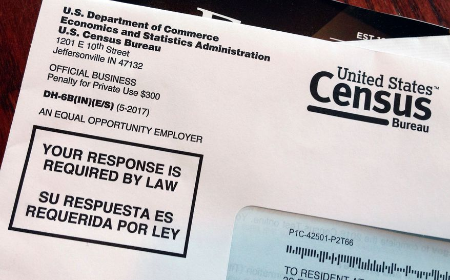 This March 23, 2018, file photo shows an envelope containing a 2018 census letter mailed to a resident in Providence, R.I., as part of the nation's only test run of the 2020 Census. (AP Photo/Michelle R. Smith) ** FILE **