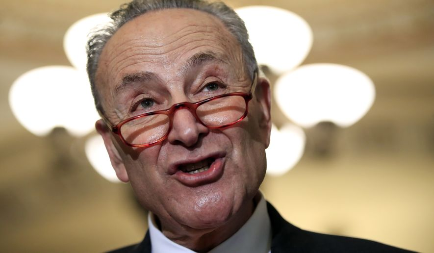 """""""We should not let a temper tantrum — threats — push us in the direction of doing something even our Republican colleagues know is wrong,"""" Senate Minority Leader Charles E. Schumer told NBC. (Associated Press)"""