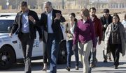 U.S. Rep. Beto O'Rourke, left, walks out of the Tornillo, Texas, international port of entry with Sen. Jeff Merkley, center, and other Democratic members of a Congress, Sen. Tina Smith, D-Minn., , front right, and Sen. Mazie Hirono, D-HI, back right, who visited a remote tent city where several thousand immigrant teens are being held at a cost of roughly $1 million a day Saturday, Dec. 15, 2018. The lawmakers urged the nonprofit running the facility not to renew a federal contract that expires Dec. 31, a longshot request that could effectively shutter the camp.  (Rudy Gutierrez/The El Paso Times via AP)
