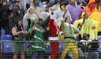 Spectators cheer in the first half of an NFL football game between the Baltimore Ravens and the Tampa Bay Buccaneers, Sunday, Dec. 16, 2018, in Baltimore. (AP Photo/Carolyn Kaster)