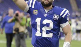Indianapolis Colts quarterback Andrew Luck reacts as he leaves the field following an NFL football game against the Dallas Cowboys, Sunday, Dec. 16, 2018, in Indianapolis. (AP Photo/Michael Conroy)