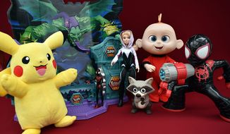 Gift ideas include Wicked Cool Toys' Power Action Pikachu, Hasbro's Spider-Man: Super Collider Playset, Shock Strike Spider-Man and Gwen Stacy and Jakks Pacific's Jack-Jack Attacks. (Photograph by Joseph Szadkowski / The Washington Times)
