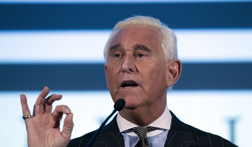 Roger Stone speaks at the American Priority Conference in Washington Thursday, Dec. 6, 2018. (AP Photo/Jose Luis Magana) ** FILE **