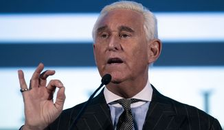 Roger Stone speaks at the American Priority Conference in Washington Thursday, Dec. 6, 2018. (AP Photo/Jose Luis Magana)