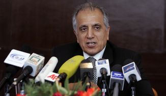 This March 13, 2009, file photo shows Zalmay Khalilzad, special adviser on reconciliation speaks during a news conference in Kabul, Afghanistan. (AP Photo/Rafiq Maqbool) ** FILE **