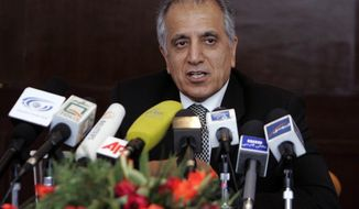 "FILE - In this March 13, 2009, file photo, Zalmay Khalilzad, special adviser on reconciliation speaks during a news conference in Kabul, Afghanistan. The Taliban say they are holding ""another"" meeting on Monday, Dec. 17, 2018 with U.S. officials, this time in the United Arab Emirates and also involving Saudi, Pakistani and Emirati representatives in the latest attempt to bring a negotiated end to Afghanistan's 17-year war. (AP Photo/Rafiq Maqbool)"