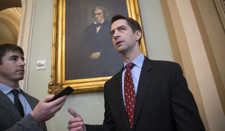 FILE - In this Nov. 27, 2018. file photo, Sen. Tom Cotton, R-Ark., speaks to reporters as he arrives for a meeting with fellow Republicans, on Capitol Hill in Washington. Legislation to ease federal sentencing laws is pitting conservatives against each other as President Donald Trump looks to score a major legislative win before the end of the year. (AP Photo/J. Scott Applewhite, File)
