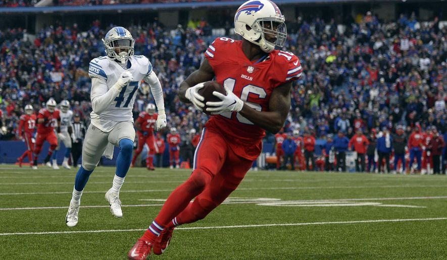 Buffalo Bills wide receiver Robert Foster (16) runs toward the end zone for a 42-yard touchdown during the second half of an NFL football game against the Detroit Lions, Sunday, Dec. 16, 2018, in Orchard Park, N.Y. (AP Photo/Adrian Kraus)