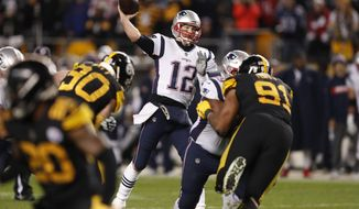 New England Patriots quarterback Tom Brady (12) throws a pass during the second half of an NFL football game against the Pittsburgh Steelers in Pittsburgh, Sunday, Dec. 16, 2018. The Steelers won 17-10. (AP Photo/Keith Srakocic)