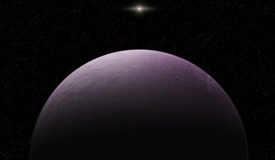 "This image provided by the Carnegie Institution for Science shows an artist's concept of a dwarf planet that astronomers say is the farthest known object in our solar system, which they have nicknamed ""Farout."" The International Astronomical Union's Minor Planet Center announced the discovery of the pink cosmic body Monday, Dec. 17, 2018. (Roberto Molar Candanosa/Carnegie Institution for Science via AP)"
