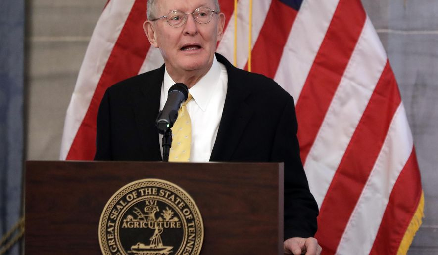 U.S. Sen. Lamar Alexander, R-Tenn., speaks at the unveiling of the official portrait of Tennessee Gov. Bill Haslam, Monday, Dec. 17, 2018, in Nashville, Tenn. Alexander said Monday he is not running for re-election in 2020. (AP Photo/Mark Humphrey) **FILE**