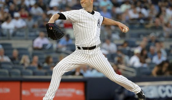 FILE - In this Aug. 9, 2018, file photo, New York Yankees starting pitcher J.A. Happ delivers against the Texas Rangers during the second inning of a baseball game, in New York. Left-hander J.A. Happ and the New York Yankees have finalized a $34 million, two-year contract.Happ gets $17 million in each of the next two seasons, and his deal includes a $17 million option for 2021 that could become guaranteed based on starts and innings in 2020. (AP Photo/Julie Jacobson, File)