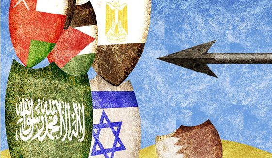 Illustration on potential new alliances in the Middle-East by Alexander Hunter/The Washington Times