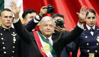 """Newly inaugurated President Andres Manuel Lopez Obrador waxed poetic about the plan to provide jobs so people won't have to emigrate. """"I have a dream that I want to see become a reality ... that nobody will want to go work in the United States anymore,"""" he said. (Associated Press)"""