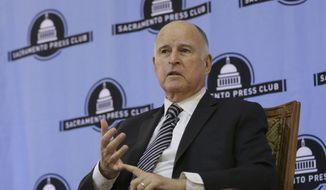 California Gov. Jerry Brown discusses his time in the state's highest office during an appearance at the Sacramento Press Club Tuesday, Dec. 18, 2018, in Sacramento, Calif. Brown, a Democrat, will leave office Jan. 7 after serving a record four terms. (AP Photo/Rich Pedroncelli)