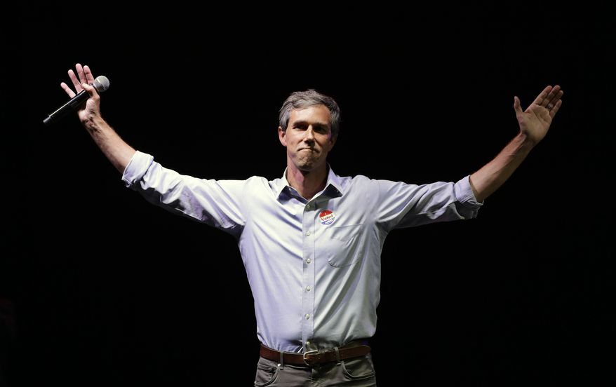 Rep. Beto O'Rourke, D-Texas, the 2018 Democratic candidate for U.S. Senate in Texas, makes his concession speech at his election night party in El Paso, Texas. (AP Photo/Eric Gay, File)
