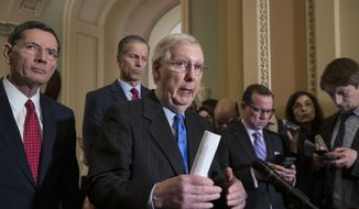 Senate Majority Leader Mitch McConnell, R-Ky., center, joined from left by Sen. John Barrasso, R-Wyo., and Sen. John Thune, R-S.D., speaks to reporters about the possibility of a partial government shutdown, at the Capitol in Washington, Tuesday, Dec. 18, 2018. (AP Photo/J. Scott Applewhite)