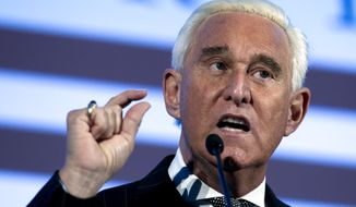 In this Dec. 6, 2018, file photo, Roger Stone speaks at the American Priority Conference in Washington Thursday, Dec. 6, 2018. (AP Photo/Jose Luis Magana, File)