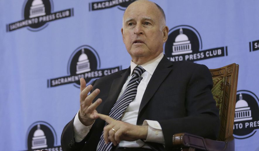 Gov. Jerry Brown discusses his time in the state's highest office during an appearance at the Sacramento Press Club Tuesday, Dec. 18, 2018, in Sacramento, Calif. Brown, a Democrat, will leave office Jan. 7 after serving a record four terms. (AP Photo/Rich Pedroncelli)