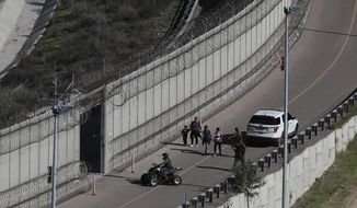 Honduran asylum seekers are taken into custody by U.S. Border Patrol agents after the group crossed the U.S. border wall into San Diego, California, seen from Tijuana, Mexico, Sunday, Dec. 16, 2018. (AP Photo/Moises Castillo)