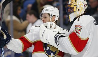 Florida Panthers Evgenii Dadonov (63) and goalie Roberto Luongo (1) celebrate a victory over the Buffalo Sabres following the third period of an NHL hockey game, Tuesday, Dec. 18, 2018, in Buffalo N.Y. (AP Photo/Jeffrey T. Barnes)