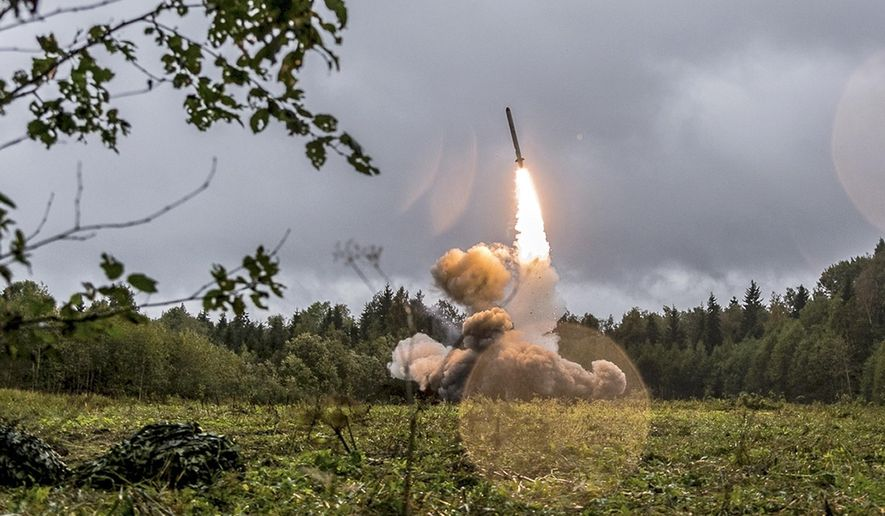 This undated file photo provided Tuesday, Sept. 19, 2017, by Russian Defense Ministry official web site shows a Russian Iskander-K missile launched during a military exercise at a training ground at the Luzhsky Range, near St. Petersburg, Russia. (Russian Defense Ministry Press Service via AP/File)