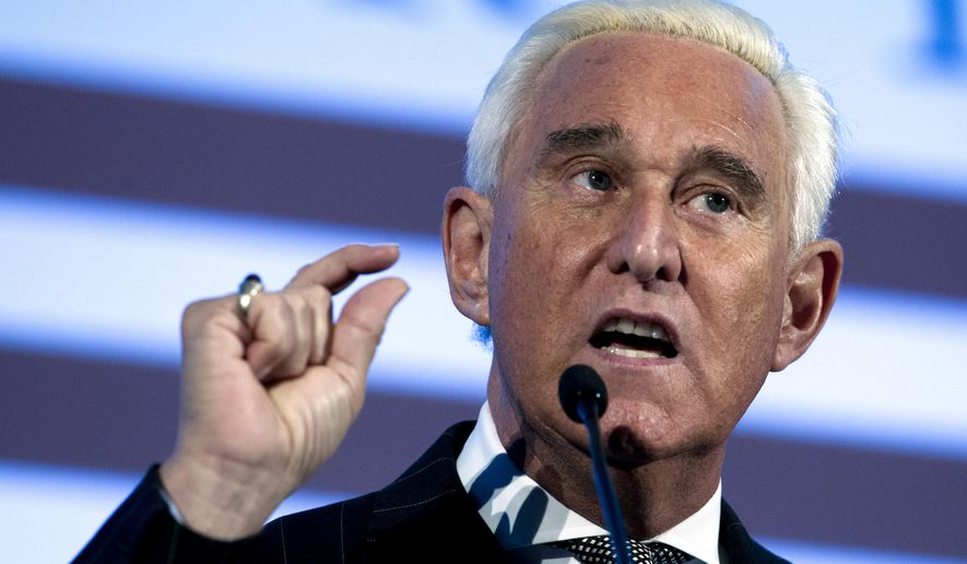 """FILE - In this Dec. 6, 2018, file photo, Roger Stone speaks at the American Priority Conference in Washington Thursday, Dec. 6, 2018.  Former Trump campaign adviser Stone has settled a $100 million lawsuit accusing him of publishing lies on the far-right InfoWars website. The Wall Street Journal reports exiled Chinese businessman Guo Wengui sued Stone in March, saying Stone accused him of being a """"turncoat criminal"""" who violated U.S. election law. Stone now says his conduct was """"irresponsible.""""(AP Photo/Jose Luis Magana, File)"""