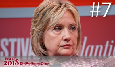 BEST OF 2018 - Former Secretary of State Hillary Clinton listens to question from Jeffrey Goldberg, editor in chief of The Atlantic, during The Atlantic Festival, Tuesday, Oct. 2, 2018, in Washington. (AP Photo/Alex Brandon)