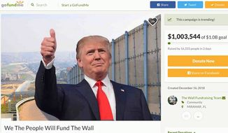 A new GoFundMe site dedicated to raising money to build the border wall topped $1 million in three days, with a goal of raising $1 billion. (GoFundMe via Brian Kolfage)