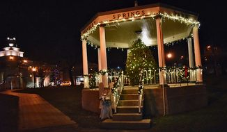 Berkley Springs State Park Gazebo decorated for the holidays. (Photograph by Jacquie Kubin /  Special to The Washington Times)
