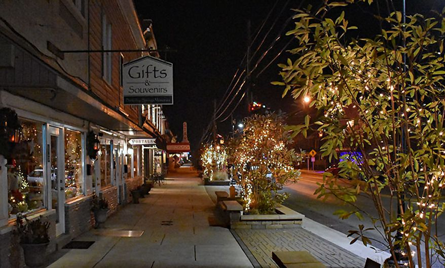 Berkley Springs, West Virginia's Main Street shops.  (Photograph by Jacquie Kubin /  Special to The Washington Times)
