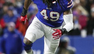 FILE - In this Oct. 29, 2018, file photo, Buffalo Bills linebacker Tremaine Edmunds (49) moves in during an NFL football game against the New England Patriots, in Orchard Park, N.Y. Edmunds has made great strides since Buffalo traded up to select him with the 16th pick in the draft. (AP Photo/Chris Cecere, File)