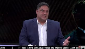 """The Young Turks"" host and liberal activist Cenk Uygur came to the defense of his political foe Tucker Carlson after the Fox News host became the target of an advertising boycott for comments he made about illegal immigration. (YouTube/@The Young Turks)"