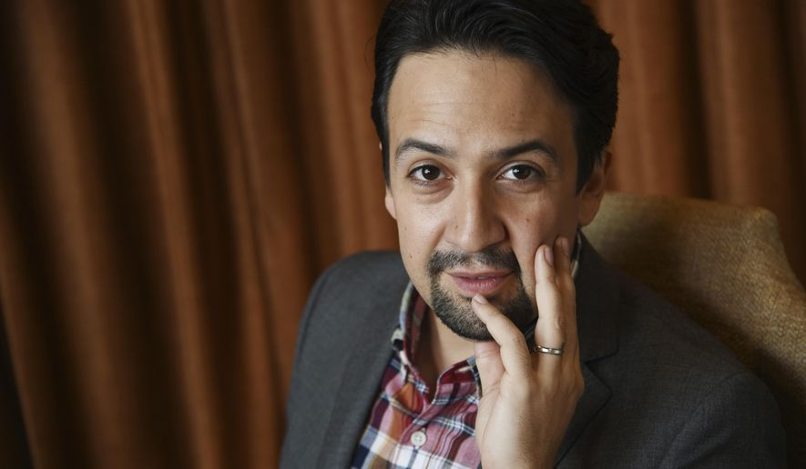"""In this Nov. 28, 2018 photo, Lin-Manuel Miranda, a cast member in the film """"Mary Poppins Returns,"""" poses for a portrait at the Montage Beverly Hills in Beverly Hills, Calif. (Photo by Chris Pizzello/Invision/AP)"""