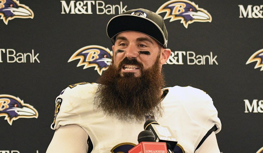 FILE - In this Oct. 1, 2018, file photo, Baltimore Ravens defensive back Eric Weddle talks with reporters after a 26-14 win over the Pittsburgh Steelers in an NFL football game in Pittsburgh. Weddle intends to put all nostalgic feelings aside when he faces his former team, the Chargers, on Saturday night in a pivotal AFC matchup. (AP Photo/Don Wright) ** FILE **