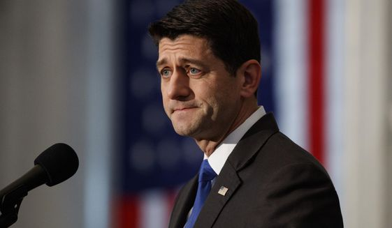 """House Speaker Paul Ryan of Wis., pauses as he gives a farewell speech in the Great Hall of the Library of Congress in Washington, Wednesday, Dec. 19, 2018. Ryan is bemoaning America's """"broken politics"""" in which he calls Washington's failure to overhaul costly federal benefit programs """"our greatest unfinished business."""" (AP Photo/Carolyn Kaster)"""