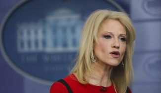 Counselor to the President Kellyanne Conway speaks during a media interview in the White House Press Brady Press Briefing Room in Washington. (AP Photo/Pablo Martinez Monsivais)