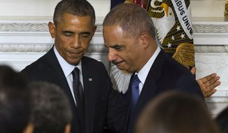 Former President Obama announced Organizing for America would be joining forces with the group run by his former attorney general, Eric H. Holder Jr., in a striking pre-2020 partnership. (associated press)